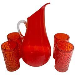 Mid-Century Modern Blenko Glass Tangerine Tumblers & Handled Drinks Set Of 5