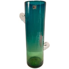 80's Organic Modern Blenko Glass Blue & Green Clear Handle Tall Cylinder Vase