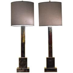 Mid-Century Modern Stepped Skyscraper Style Chrome Table Lamps and Shades, Pair