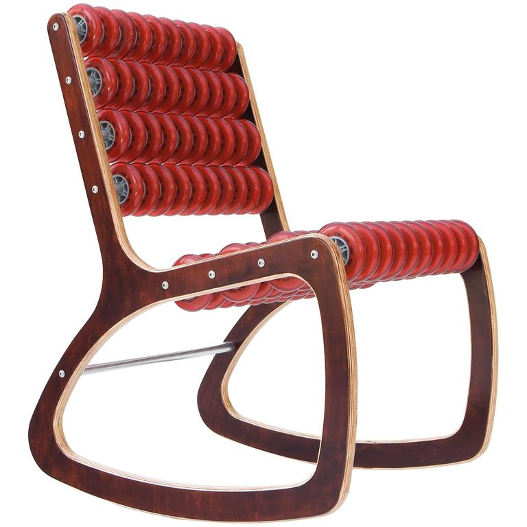 Razor Rocker Rocking Chair in Walnut and Translucent Red by Philip Caggiano 1