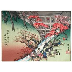 Japanese Wood Block Print by, Hiroshige Ando-Signed