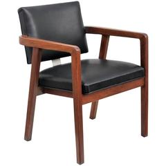 George Nelson for Herman Miller, Walnut and Leather Desk Chair, USA, 1950s