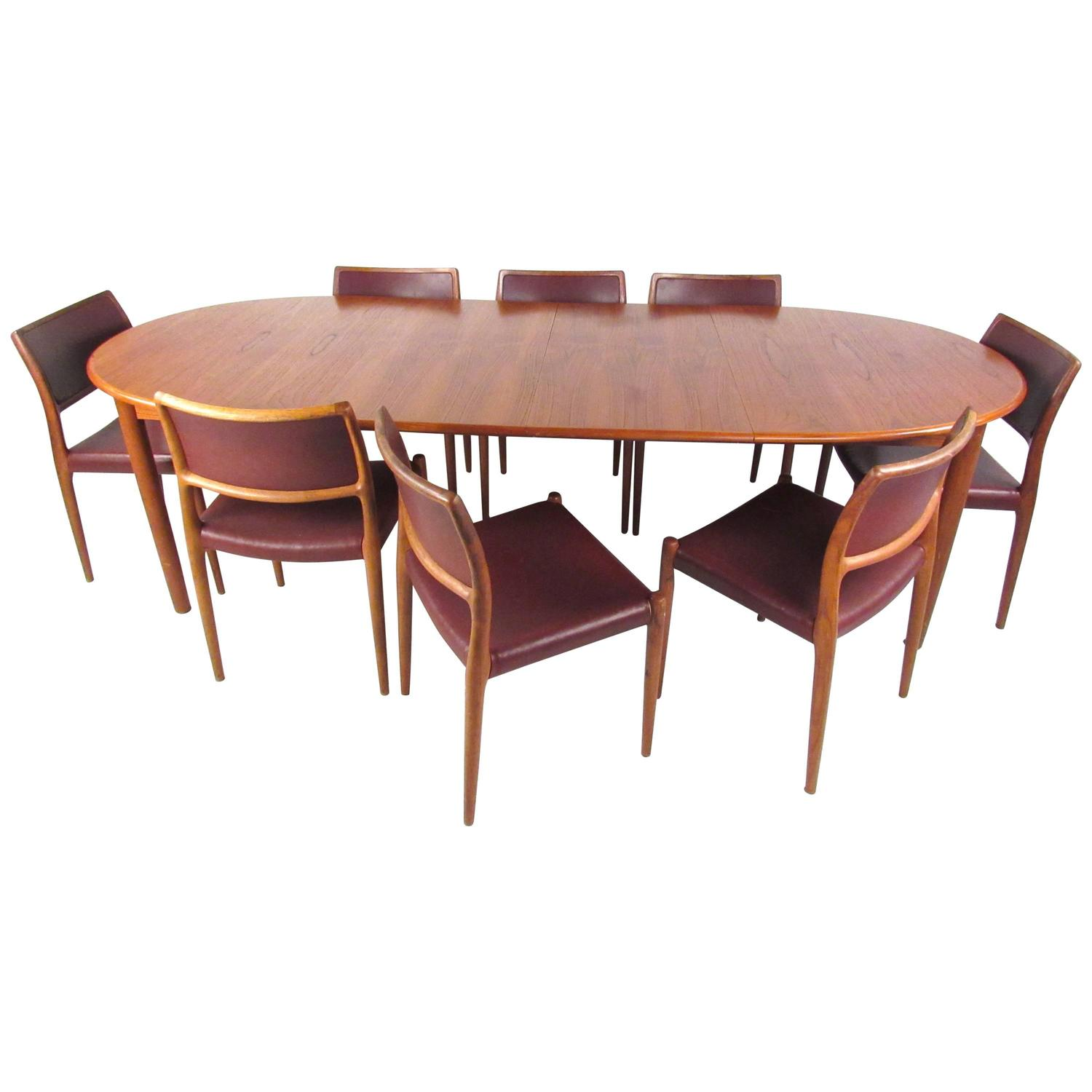 Mid Century Modern Danish Teak Dining Set With Model 80 N.O. Moller Dining  Chair For Sale At 1stdibs