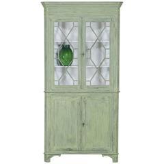Antique English Painted Georgian Corner Cabinet, circa 1840