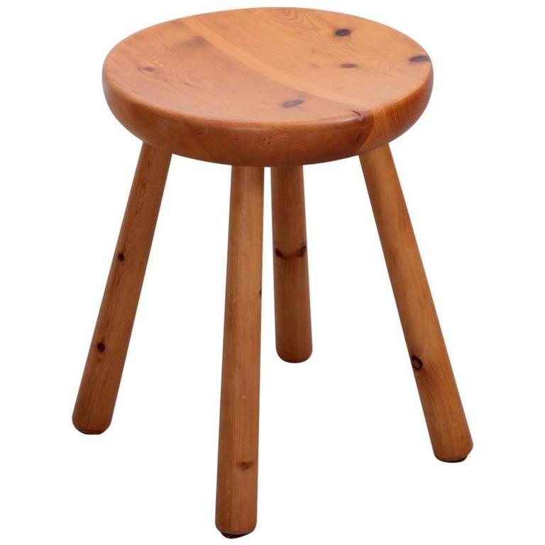 Charlotte Perriand Les Arcs Stool in Pine, circa 1965 1