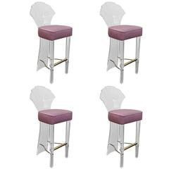 Set of Four Lucite Bar Stools with Brass Foot Rest by Hill Manufacturing