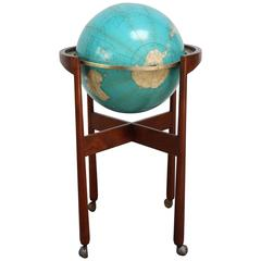 Jens Risom Sculptural Walnut Globe Stand on Casters