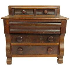 19th Century American Empire Style Miniature Step-Up Chest of Drawers