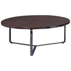 Edge Coffee Table Polished Stainless Steel Structure and Leather Top