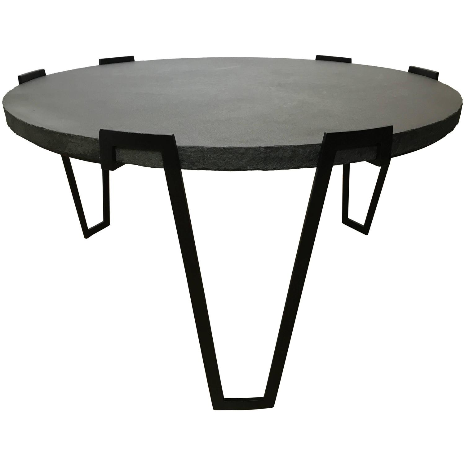 Large sculpted metal and stone cocktail table for sale at for Metal and stone coffee table