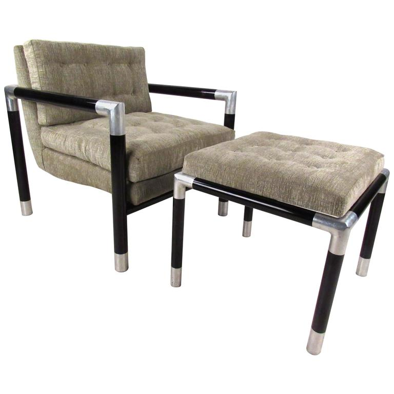 Mid Century Modern Dunbar Style Lounge Chair with Ottoman For Sale at 1stdibs