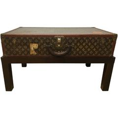 Louis Vuitton Steamer Trunk on Custom Mahogany Base
