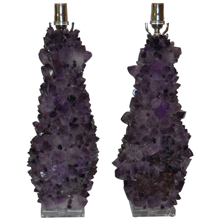 Pair of Amethyst Crystal Quartz Table Lamps