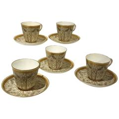 Group of Five Royal Worcester Porcelain Cup and Saucers Aesthetic Movement, 1890