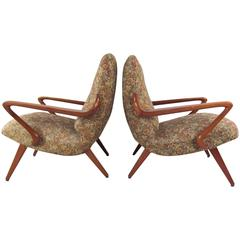 Pair of Mid-Century Italian Lounge Chairs in the Style of Paolo Buffa