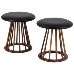 Pair of Walnut and Leather Spindle Stools by Arthur Umanoff