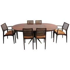 Elegant 1940s Dining Table and Six Chairs by Erno Fabry