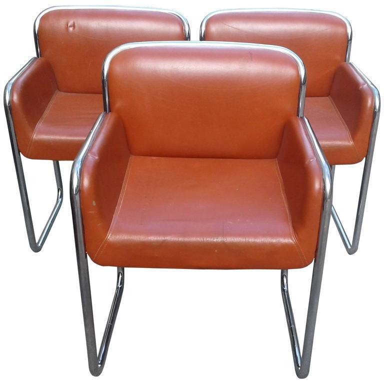 John Stuart Chrome Arm Vintage chairs Desk Lounge Dining Mid-Century Modern