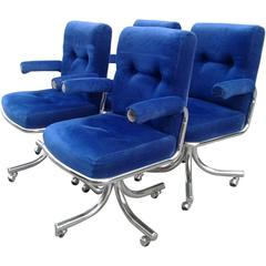 Chrome Swivel Arm Chairs Vintage Four Blue Desk Dining Hollywood Regency