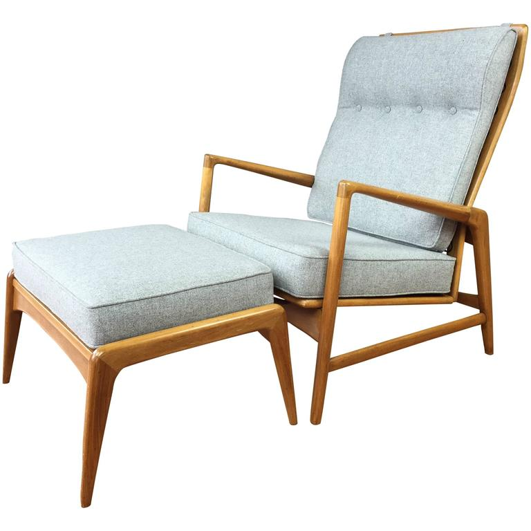 Ib Kofod Larsen Reclining Lounge Chair and Ottoman for Selig at 1stdibs