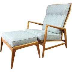 Ib Kofod-Larsen Reclining Lounge Chair and Ottoman for Selig