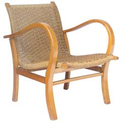1960, Dutch Designer for V&D Holland, Easy Chair in Wood and Rope