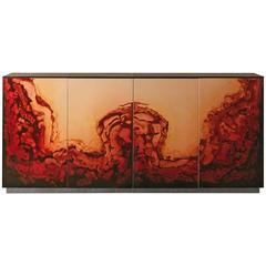 Fusion Sideboard Polished Lacquered and Leather Top