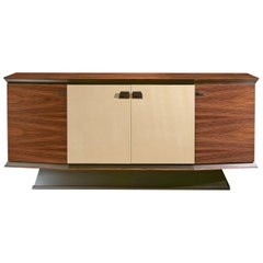 Virginia Sideboard in Brushed Steel Rosewood and Leather Doors