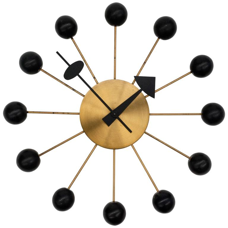 Vintage george nelson ball clock for howard miller at 1stdibs for Nelson wall clock