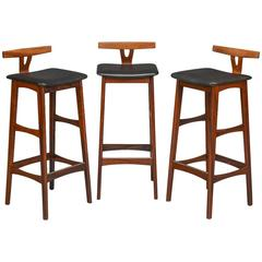 Set of Three Erik Buch Rosewood Bar Stools