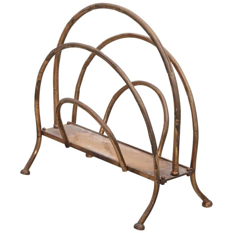 Brass Magazine Faux Bamboo Stand For Sale