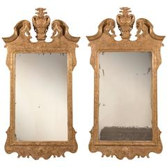 Pair of 19th Century George I Style Carved Giltwood Mirrors