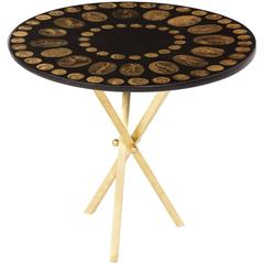 Fornasetti Side Table Cammei Coin Motif Mid-Century, Italian, 1950-1970