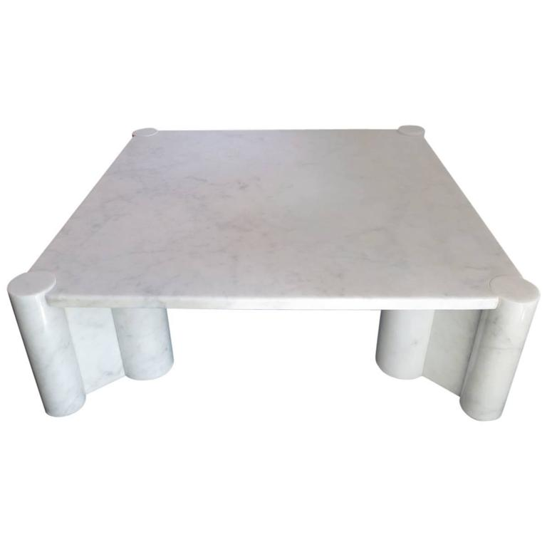 Large Italian Carrara Marble Coffee Table By Gae Aulenti For