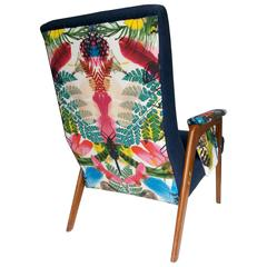 Mid-Century Modern Armchair with Teak Armrests, Upholstered in Christian Lacroix