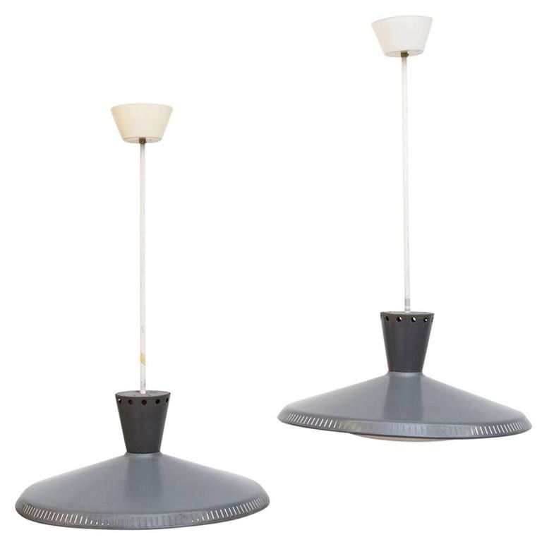 Pair of Louis Kalff for Philips Ceiling Lamp