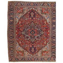 Antique Heriz Northwest Persian Carpet, Handmade Rug, Navy, Light Blue, Red