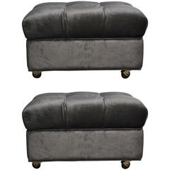 "Tufted Dunbar Rolling ""Party Ottomans"" by Edward Wormley"