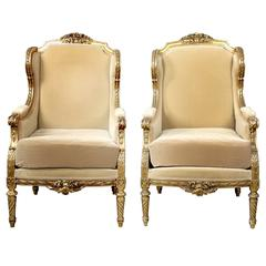 Important Pair of Late 19th Century Louis XVI Style Giltwood Bergères