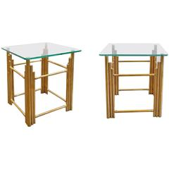 Pair of Mexican Modern Brass Side Tables, 1970s