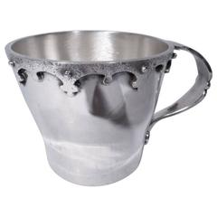 Arts & Crafts Sterling Silver Baby Cup with Strapwork by JE Caldwell