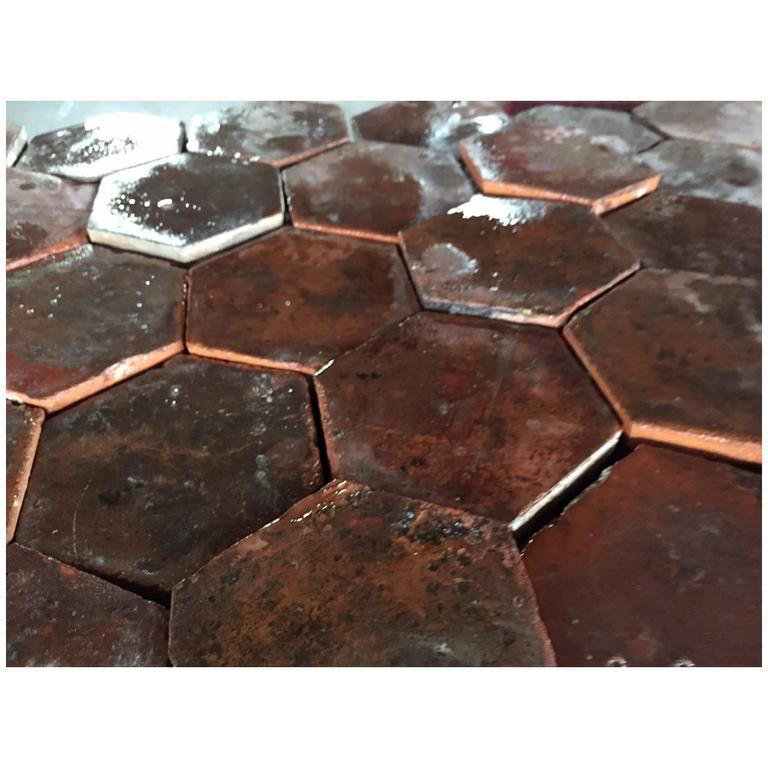 Original French Antique Hexagonal Terra Cotta Flooring, 17th-18th Century For Sale