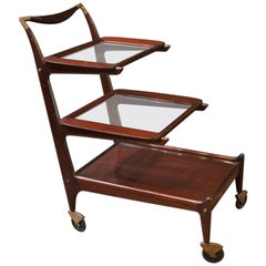 Sleek and Sexy Italian Mod Rosewood Bar Cart by Cesare Lacca