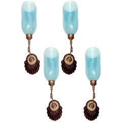 Set of Four Anglo-Indian Sconces with Blue Glass