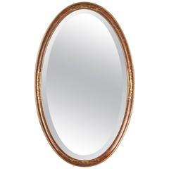 French Art Deco Oval Mirror, circa 1925