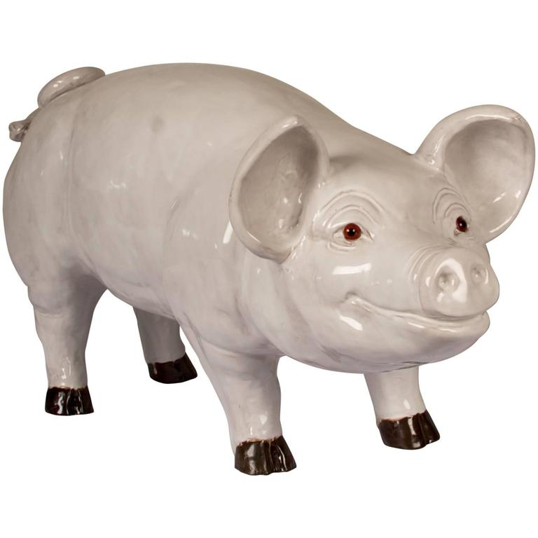Glazed Terra Cotta Sculpture of a Happy Pig For Sale