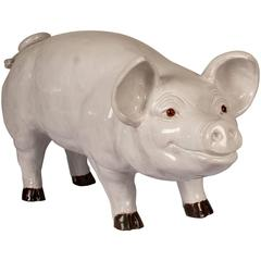 Glazed Terra Cotta Sculpture of a Happy Pig