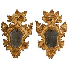 18th Century, Pair of Rococo Giltwood Mirrors