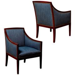 Pair of Finely Modeled Armchairs Attributed to Jean-Michel Frank