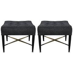 Pair of Tufted X-Base Stools